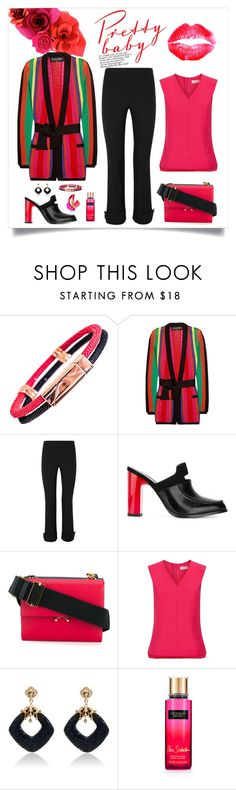"""""""Balmain Striped Knit Blazer Look"""" by romaboots-1 ❤ liked on Polyvore featuring Balmain, Opening Ceremony, Marni, Ted Baker, Latelita and Victoria's Secret"""