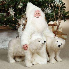 Stone Soup Limited Edition Handmade Polar Bear Prance Santa