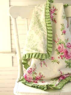 For us Sewists.....this would be Easy to do...and you recognize this type of trim...the pleated...you can find it easily...Love this. Would look so pretty in new baby girl's room.