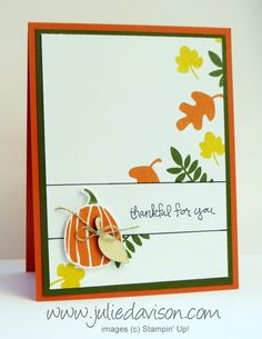 I designed this clean and simple card for my September Stamp of the Month Club series.   Check out the video on my blog to learn how to do the Bordered Sentiment technique: http://juliedavison.blogspot.com/2014/10/video-fall-fest-bordered-sentiment-card.html  For more Stampin' Up! project ideas, check out my blog at http://juliedavison.com