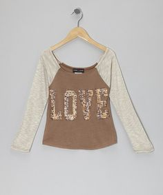 Take a look at this Brown & Ivory 'Love' Raglan Top by Rated G on #zulily today!