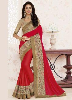 Wedding Wear Red Designer Sarees
