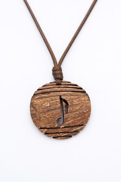"""ON SALE Gift for music lovers """"Jazz"""" from Coconut Shell music note music jewelry gift for him hand carved art pendant  music pendant wood pe - $12.50 USD"""