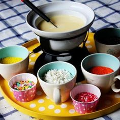 Cupcake fondue! teen birthday party.  Didn't come up when I clicked on picture but the picture gives enough idea.