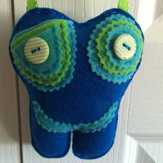 Tooth Fairy Pillow Blue Neon Lime Green and by FlyHoneybee on Etsy