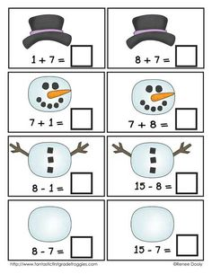 Winter Math Center Fun- build a snowman fact families $