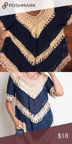 Umgee Size L Crochet Top Worn once, bought from Country Outfitters. umgee Tops Blouses