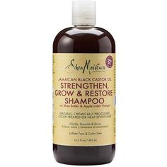 SheaMoisture Jamaican Black Castor Oil Strengthen, Grow & Restore Shampoo with Shea Butter & Apple Cider Vinegar for natural, chemically processed, color treated or heat styled hair. Castor Oil Shampoo, Clarifying Shampoo, Sulfate Free Shampoo, Moisturizing Shampoo, Pelo Natural, Natural Hair Tips, Natural Hair Styles, Shampooing Sans Sulfate, Shampoo For Curly Hair