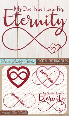 Infinity Love Sign SVG Cutting File Bundle, Infinity Sign, SVG File For Silhouette Pattern, SVG File For Cricut Projects, SVG Format File, DXF File, PNG Image File. Valentines Day Decorations can be made with the Cutting Files. The PNG Files are perfect f