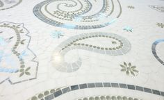 Harlow / Atelier Collection featured in natural stones (Arctic White, Borealis Blue, Light Bardiglio) & Venetian Glass by Mosaique Surface