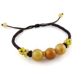 Fundraiser idea? Brown Adjustable Bracelet With Citrus Colored Jade Stone Beads