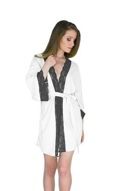 680c7ffa9efb Anniversary Gift Robe Black and White Robe For Her Sexy Short Robe Organic  Bamboo Lingerie Sexy