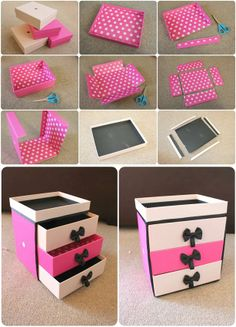 Cosmetic organizer – beauty boxes This is an Epic Idea! and Looks Easy :)