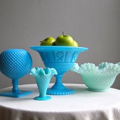 Turquoise milk glass...possible living room/bedroom display.  Lots of hobnail (I tend to find a lot of hobnail milk glass).