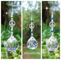 Unique peace sign suncatcher with color changing mood beads for the rearview, in a window or from an existing ceiling light pull chain. Bead Crafts, Crafts To Sell, Diy Crafts, Car Mirror Decorations, Christmas Bulbs, Christmas Crafts, Easter Crafts, Halloween Crafts, Hanging Crystals