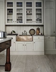 Swedish Kitchen Cabinet Design: Kitchen Inspiration and Thoughts on February – The Colorado Nest Farmhouse Kitchen Island, Grey Kitchen Cabinets, Kitchen Cabinet Design, Kitchen Interior, Kitchen Walls, Rustic Kitchen, Country Kitchen, Country Sink, Walnut Kitchen