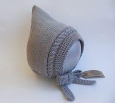 Hand Knit Grey Pixie Bonnet by WoollywonderKnits #handknit #babyhat #babybonnet #etsy #etsyseller #handmade