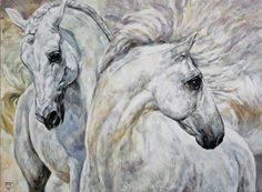 Horse art   Pferde gemalt: WHITE  HORSES / WEISSE  PFERDE