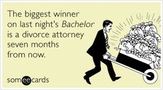 The biggest winner on last night's Bachelor is a divorce attorney seven months from now.