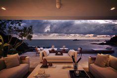 Open air living room of a villa built on a ridge in the Mexican Pacific coast in Guerrero Ixtapa-Zihuatanejo Guerrero Mexico [1280853]