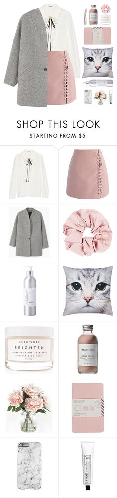 """Pink and Grey"" by hiddlescat ❤ liked on Polyvore featuring Miu Miu, Chicwish, MANGO, Max Benjamin, M&Co, Herbivore, French Girl, Home Decorators Collection, Moleskine and L:A Bruket"