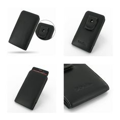 PDair Leather Case for Motorola Droid Ultra XT1080 - Vertical Pouch Type Belt Clip Included (Black)