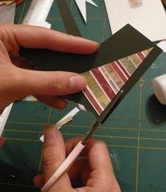Cartão de natal - árvore de natal com retalho de papel decorado #PAP #tutorial #recicle #papercraft #cardmaking #DIY