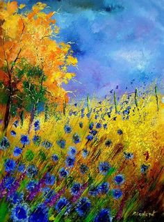 """""""Cornflowers and orange tree"""" Where is the artist name? I love this!! I need to know who the artist is!  The colors are.... I can't even find the words. I am totally in love with this painting!:"""