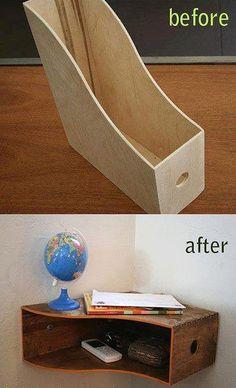 Détournement d'usage en étagère d'angle.