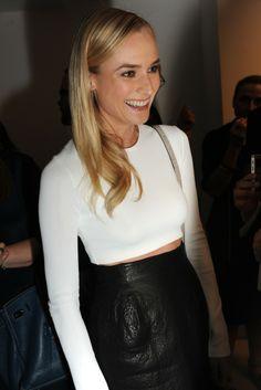 perfect minimal sleek n tough - white longsleeve crop / black leather skirt