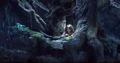 Disney's Pete's Dragon Pete in hollow of tree
