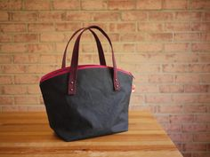 Waxed Canvas Zipper Tote in Black Small Vegan Day Bag by solaWu