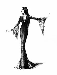 morticiasmemoirs:      Morticia Addams  Early sketch on The Addams Family Values  Artist is Alina Panova