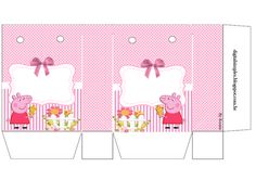 Peppa Pig with Dog: Free Printable Candy Paper Bag. Peppa Pig Bag, Peppa Pig Teddy, Peppa Pig Printables, Party Printables, Free Printables, Invitacion Peppa Pig, Pig Candy, Paper Box Template, Pig Crafts