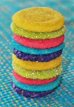 Peanut butter stuffed sugar cookies...that are neon rainbow AND sparkly?? This is happening.