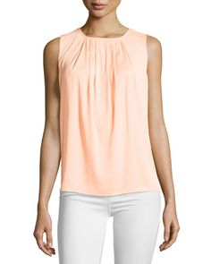 Tahari Pleated Sleeveless Blouse, Darling New offer @@@ Price :$109 Price Sale $75