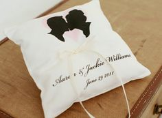Custom silhouette ring bearer pillow #silhouette #wedding