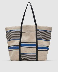 Imagem 2 de TOTE BAG EM TECIDO COM ESTAMPADO ÀS RISCAS da Zara