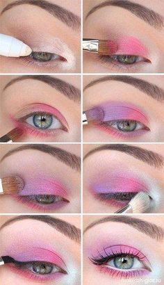 Lila und rosa Augen-Make-up Makeup - makeup products - makeup tutorial - makeup tips - Source makeup Pink Eye Makeup Looks, Pink Makeup, Cute Makeup, Pretty Makeup, Bright Makeup, Simple Makeup, Pastel Goth Makeup, Spring Eye Makeup, Creative Eye Makeup