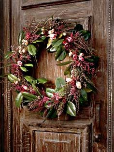 wreath with dried roses on door Diy Wreath, Grapevine Wreath, Fresh Flowers, Dried Flowers, Drying Roses, Real Simple, Porch Decorating, Floral Arrangements, Garland