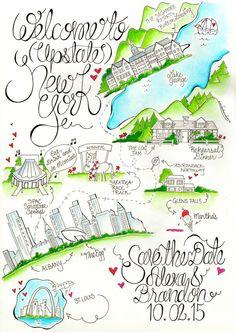 Upstate New York Wedding Map Albany By Designermapsbyzoe Maps