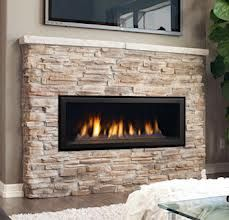 linear gas fireplace - surrounded by stone