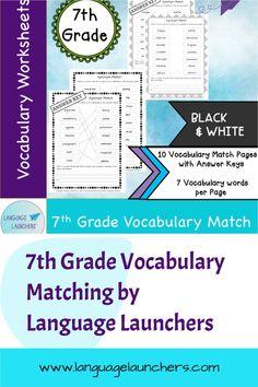 Matching Worksheets with answer sheets. Each of the 10 worksheets contain 7 vocabulary words. #vocabularyworksheets #vocabularydevelopment #7thgrade Teaching Vocabulary, Vocabulary Worksheets, Vocabulary Words, Verbal Communication Skills, Hearing Impairment, Matching Worksheets, Esl Resources, English Language Learners, Single Words