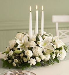 Christmas Floral Centerpieces From Martha Stewart and White Floral Centerpieces, Winter Wedding Centerpieces, Winter Wedding Flowers, Candle Centerpieces, Wedding Table, Floral Wedding, Wedding Decorations, Candles, Unity Candle