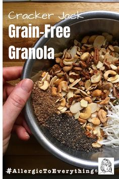 Remember those Cracker Jack boxes of caramel popcorn and peanuts? This grain-free granola hits that kind of spot. #AllergicToEverything Cracker Jack Grain-Free Granola Recipe