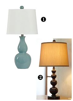 I heart both of these lamps...especially the top left (Double Gourd Ceramic Table Lamp from JCP $40)