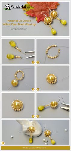 PandaHall Inspiration Project---Yellow Pearl Beads Earrings Yellow always give us a warm feeling. Today's tutorial is about how to make a pair of shiny yellow pearl beads earrings which is very suitable for this season. Follow me to have a nice try! #PandaHall #inspiration #earrings #jewelry #diy #craft #tutorial #pearl #dangle