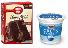 Combine 1 boxed cake mix, 1 cup plain greek yogurt and 1 cup water. Mix together and bake according to directions on the cake mix box. Works best with Devil's Food Cake mix, but experiment! The texture is similar to a cross between a cake and a brownie. Use a 9 x 9 inch pan for a thicker cake.  Makes 12 servings at approximately 180 calories each.