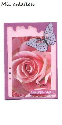 Carte anniversaire, thème fleuri, coloris rose et violet
