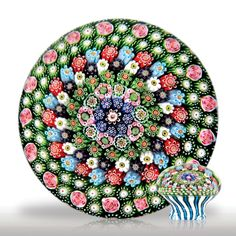 Magnificent antique Clichy concentric close packed millefiori piedouche in a stave basket paperweight.(4) images
